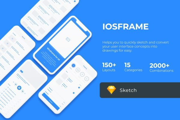 150+iOS平台APP应用界面设计线框图精选SKETCH素材 iOS Wireframe Mobile UIT KIT – Sketch Version