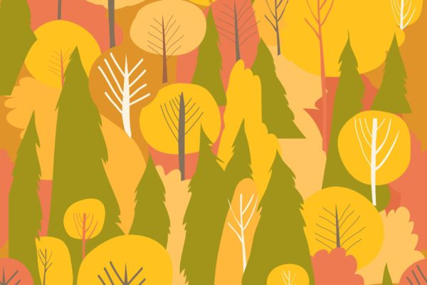 秋天森林主题无缝水彩图案背景素材 Seamless vector autumn forest pattern. Fall backgr