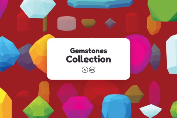 50+彩色宝石钻石图案矢量背景素材 Gemstones Collection