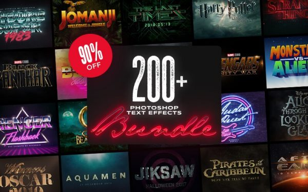 200个优秀炫酷的PS字体样式大合集[6G] InkyDeals 200+ Photoshop Text Effects Bundle
